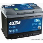 EXIDE EXCELL EB740 12V 74Ah 680A akkumulátor J+