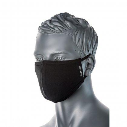 Arcmaszk/szájmaszk - mosható, 2 rétegű, fekete - Portwest CV22