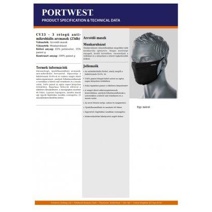 Arcmaszk - szájmaszk - mosható, állítható 3 rétegű, fekete - Portwest CV33