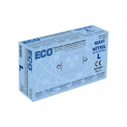 ECO Kék púderes nitril kesztyű - L 100db/doboz