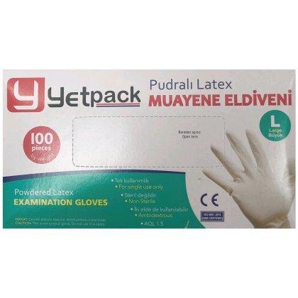 YETPACK Púderes latex kesztyű - L 100db/doboz